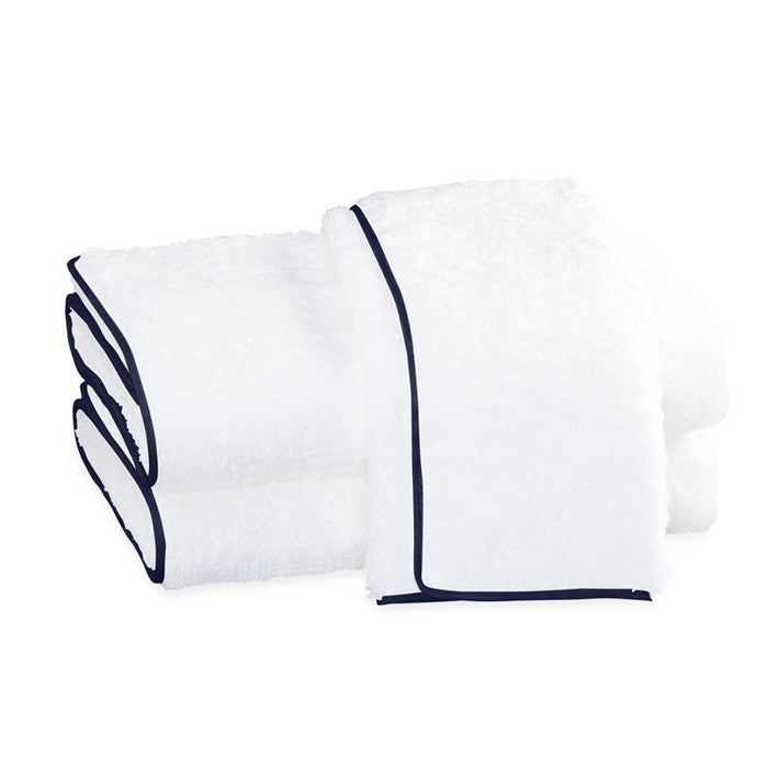 Cairo Straight Edge Bath Sheet - White & Navy