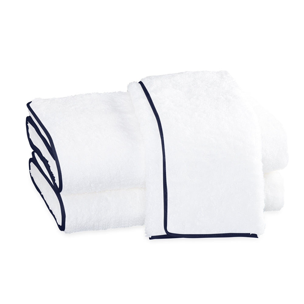Cairo Straight Edge Bath Towel - White & Navy