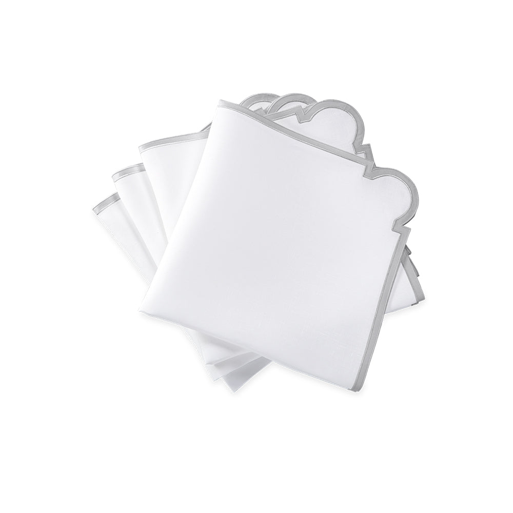 Mirasol Dinner Napkins - White / Silver