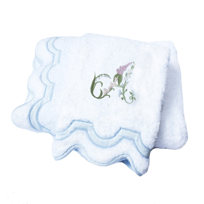 Floral Alphabet Mirasol Bath Towel - Blue