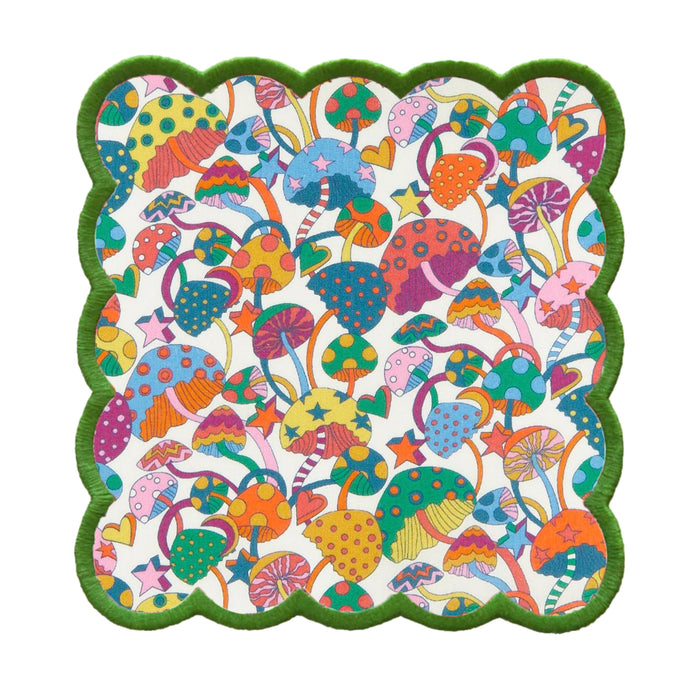 Mushroom Liberty of London Cocktail Napkins in Blue Green