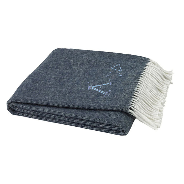 Astrology on Italian Herringbone Throw - Navy Blue