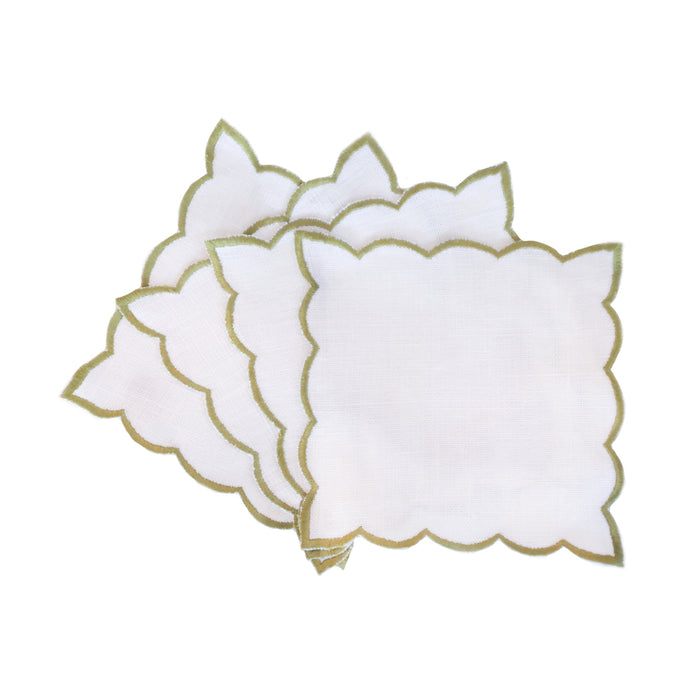 Scallop Edge Cocktail Napkins - Olive