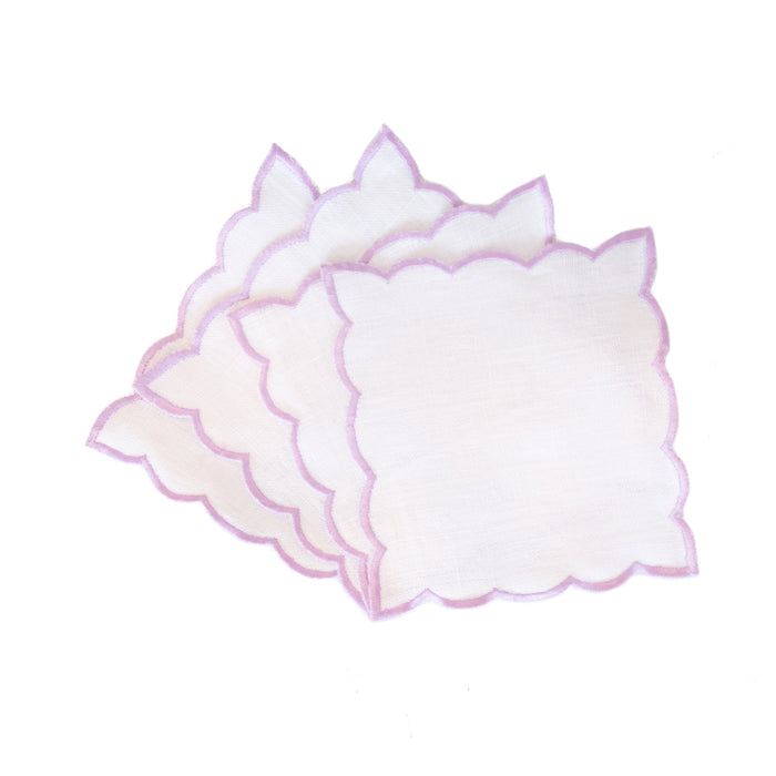 Scallop Edge Cocktail Napkins  - Lavender