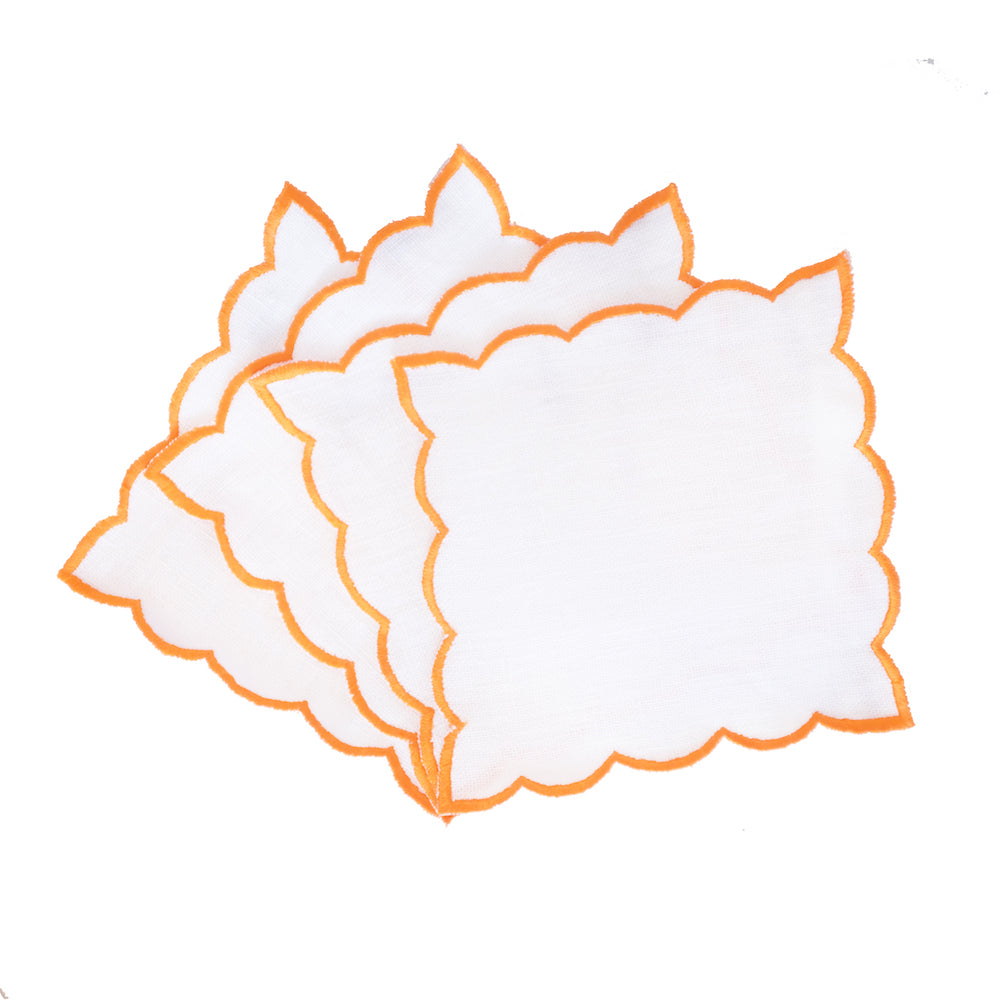 Scallop Edge Cocktail Napkins - Orange