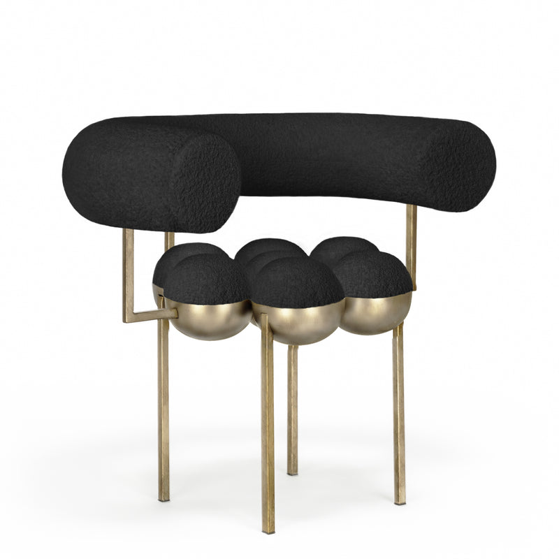 SATURN CHAIR - BRASS, BLACK BOUCLE