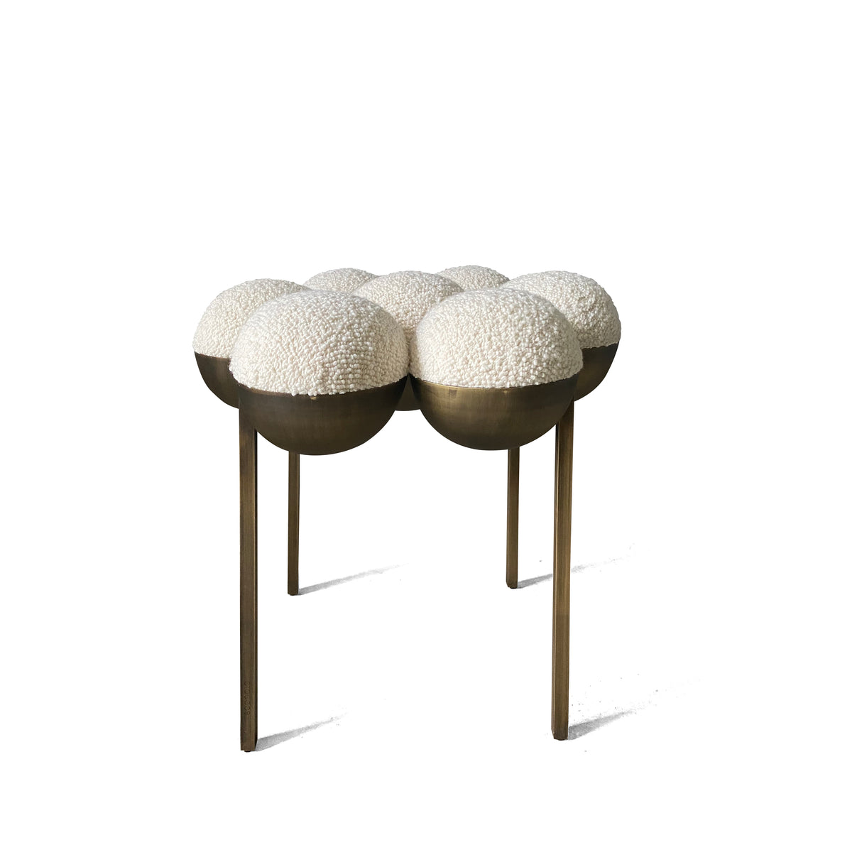 SATURN POUFFE SMALL - DARK OXIDISED BRASS, IVORY BOUCLE