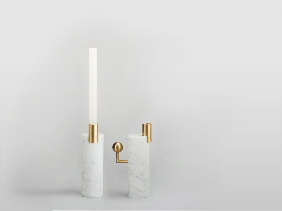 STARGAZER CANDLE HOLDERS SINGLE - CARRARA <br> SET OF TWO