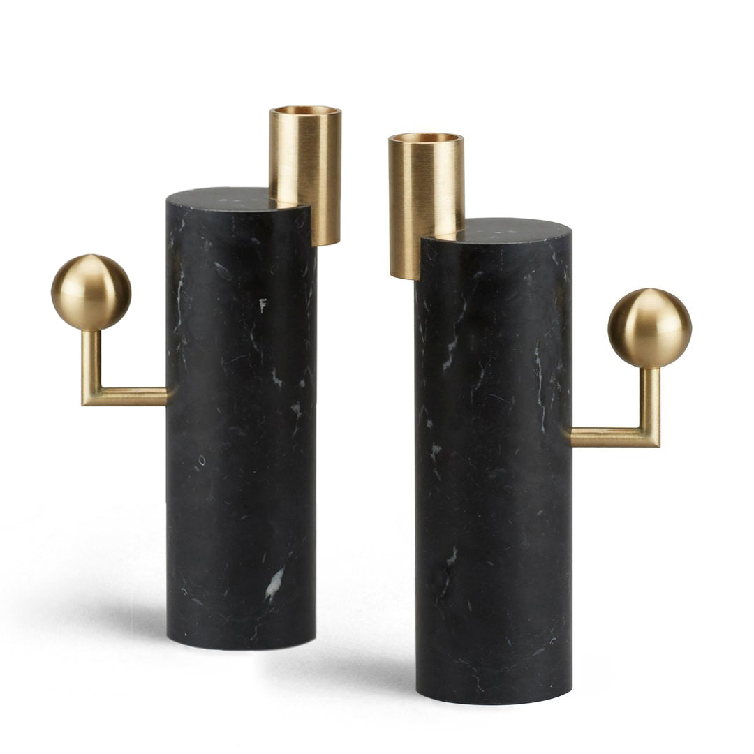 STARGAZER CANDLE HOLDERS SINGLE - NERO MARQUINA <br> SET OF TWO