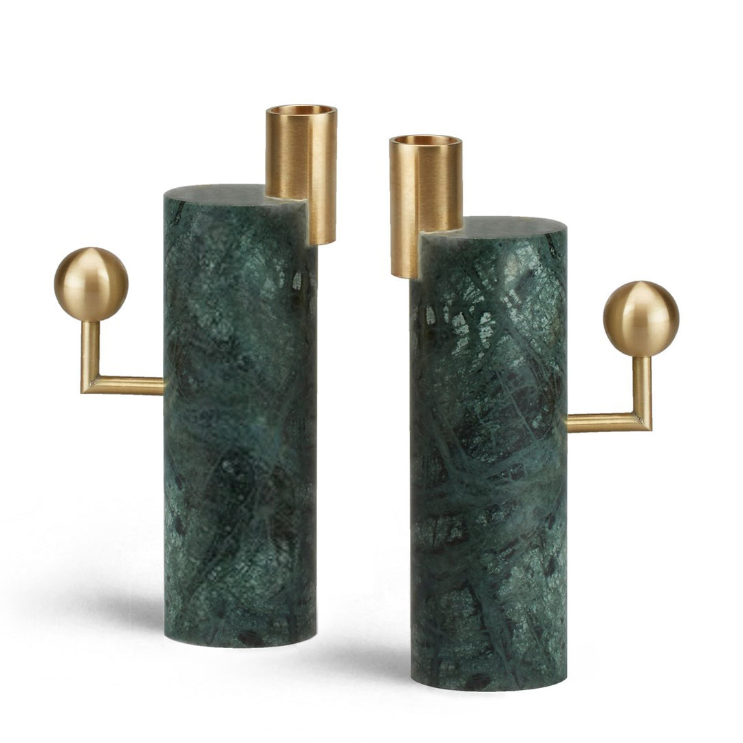 STARGAZER CANDLE HOLDERS SINGLE - VERDE GUATEMALA <br> SET OF TWO