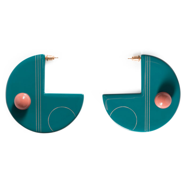 URUSHI HALF MOON EARRINGS - BLUE