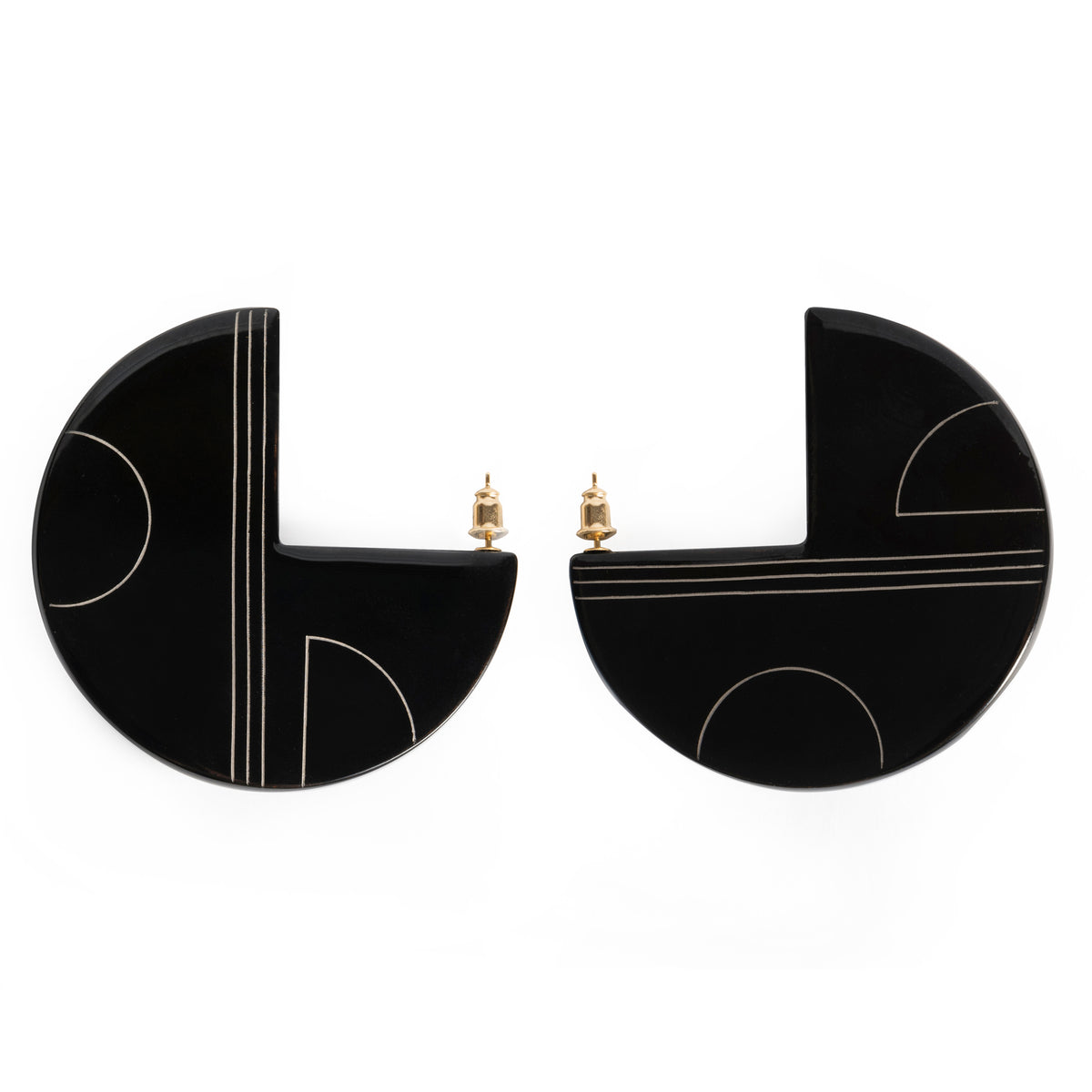 URUSHI HALF MOON EARRINGS - BLACK