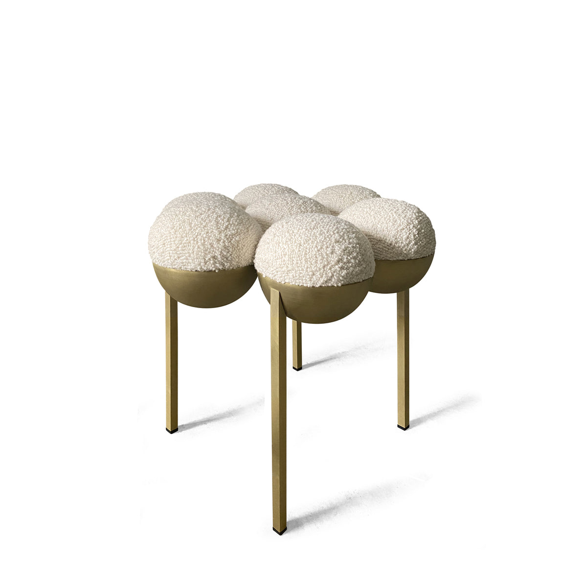 SATURN POUFFE SMALL - BRASS, IVORY BOUCLE
