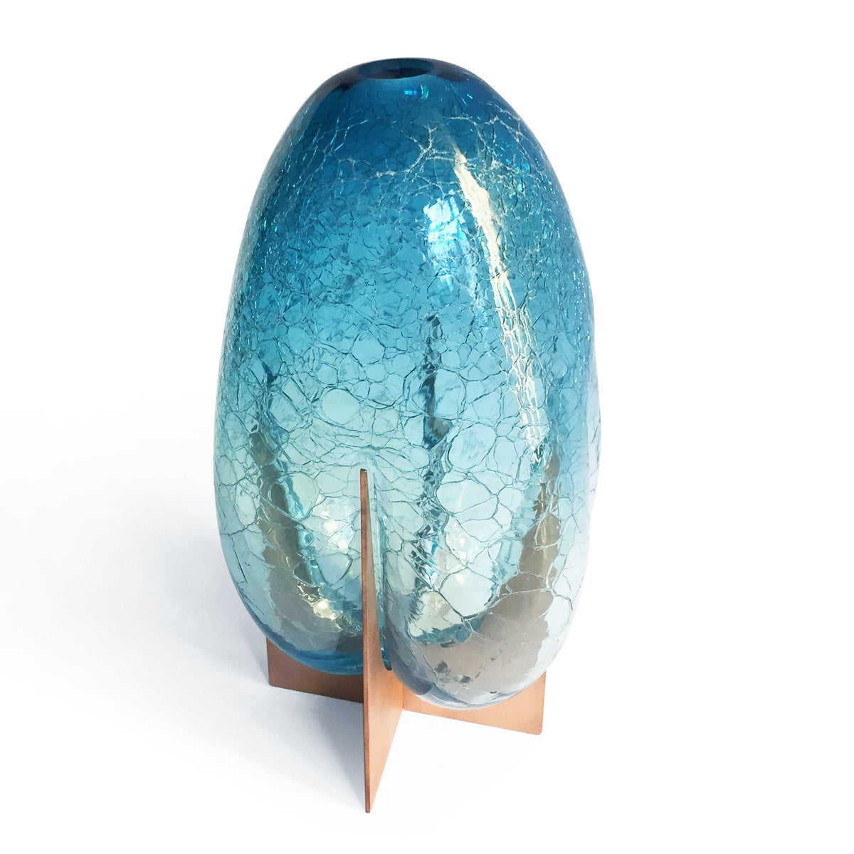 VENTURI PEAR VASE - BLUE CRACKLE