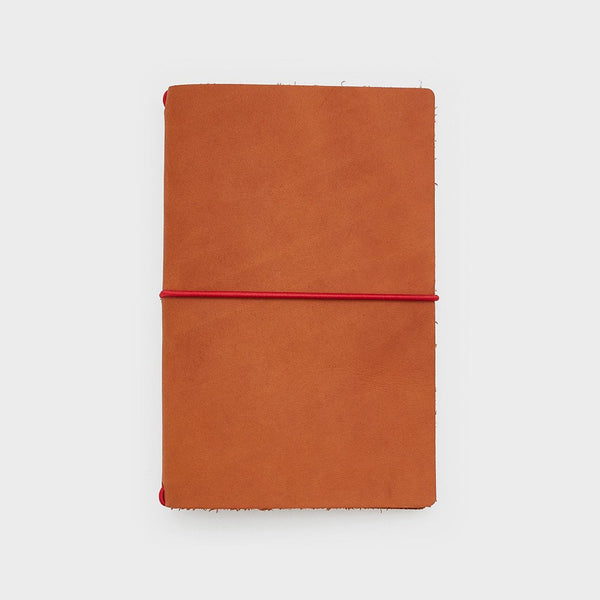 Leather Cover - Word. Notebook Leather Jacket - Chestnut/Red