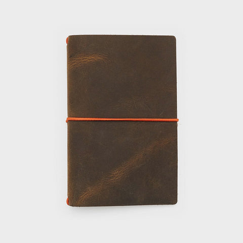 Leather Cover - Word. Notebook Leather Jacket - Olive/Orange