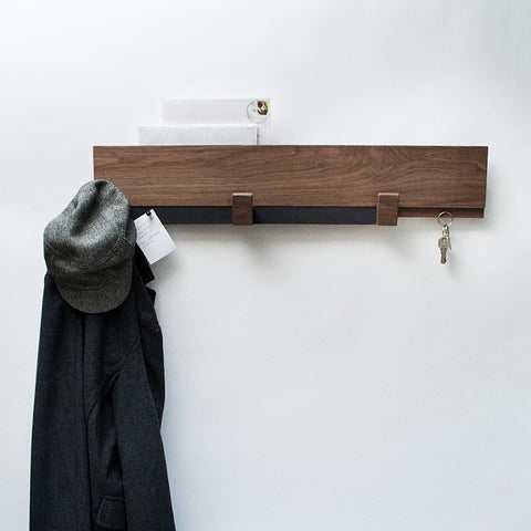 Organizer - Entryway Wall Rack - Walnut