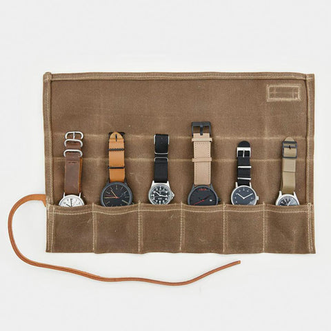 Waxed Canvas Watch Roll
