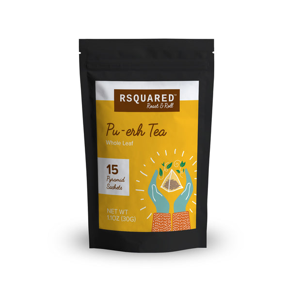 RSQUARED™ Pu-er whole leave tea 15 biodegradable pyramid sachets per pouch organic ingredients