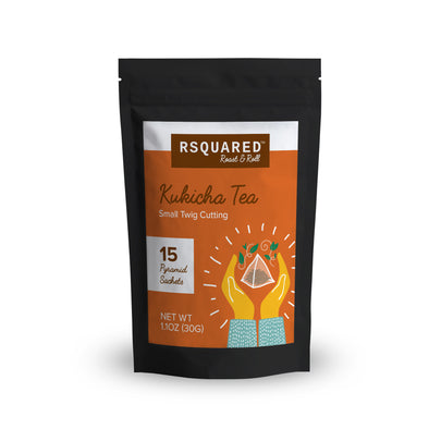 RSQUARED™ Japanese Kukicha twig tea 15 biodegradable pyramid sachets per pouch organic ingredients