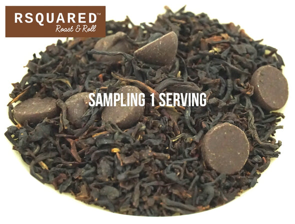 FREE SAMPLE 1 SERVING RSQUARED Chocolate black tea biodegradable pyramid sachet