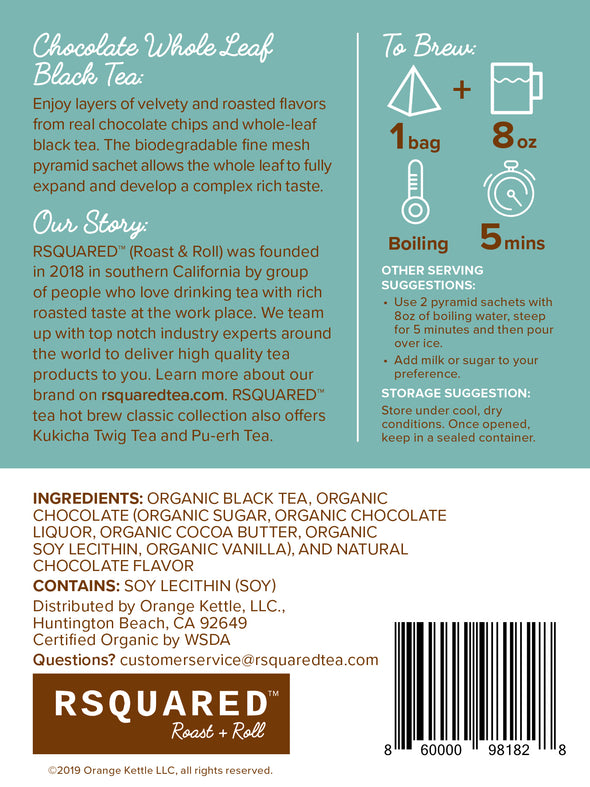 RSQUARED™ Chocolate tea black tea 15 biodegradable pyramid sachets per pouch organic ingredients