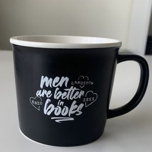 """Men are better in books"" mug"