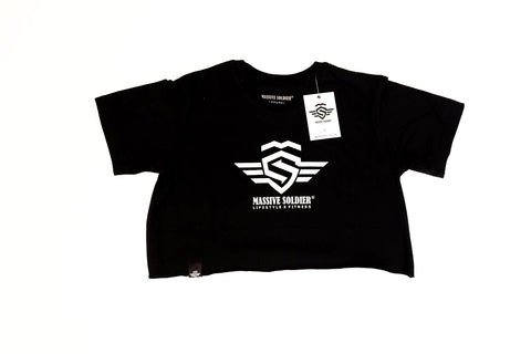 LOGO CROP SHIRT BLACK - MassiveSoldier©