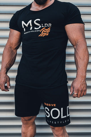 MSLDR ORANGE LOGO SHIRT BLACK - MassiveSoldier©