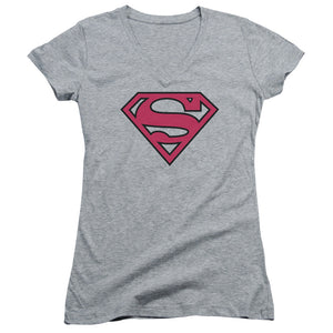 Superman - Red & Black Shield Junior V Neck