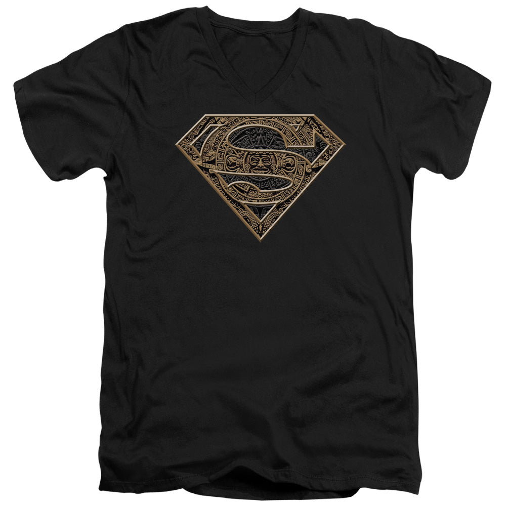 Superman - Aztec Shield Short Sleeve Adult V Neck