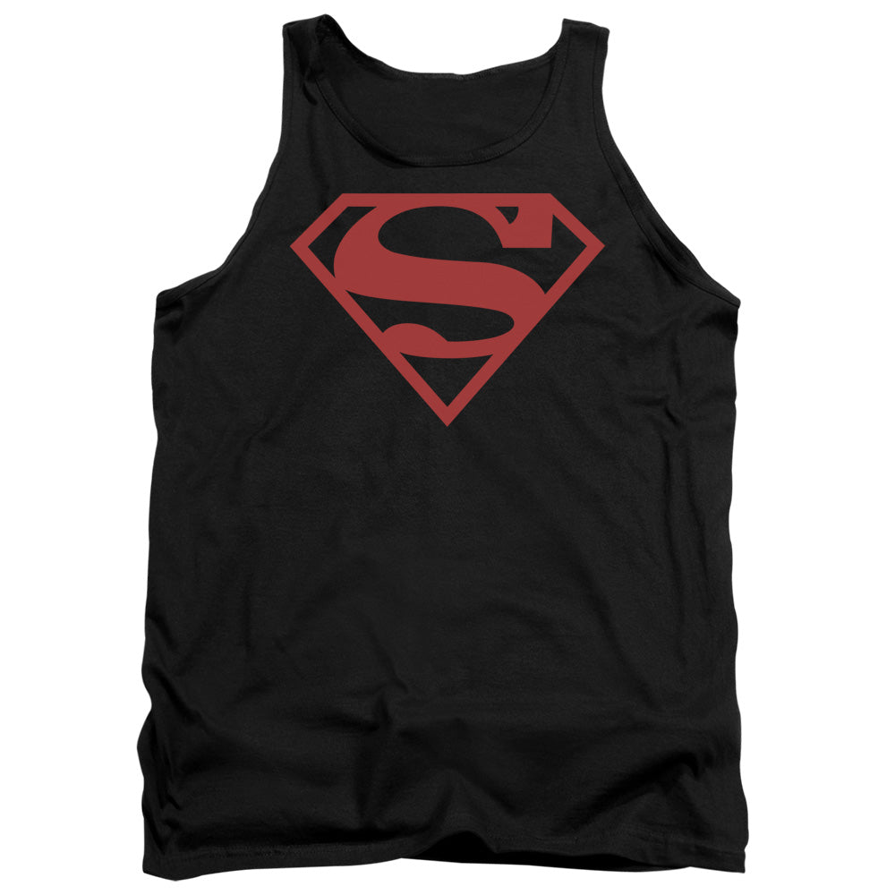 Superman - Red On Black Shield Adult Tank