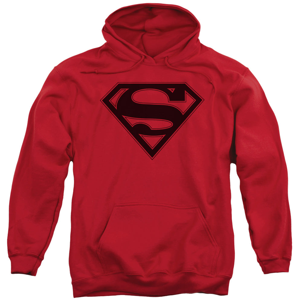 Superman - Red &Amp; Black Shield Adult Pull Over Hoodie