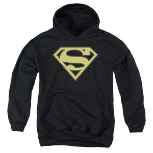 Superman - Gold & Black Shield Youth Pull Over Hoodie