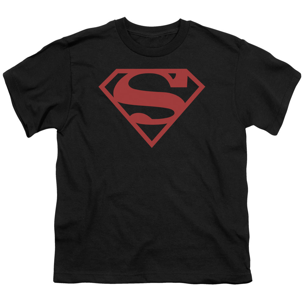 Superman - Red On Black Shield Short Sleeve Youth 18/1