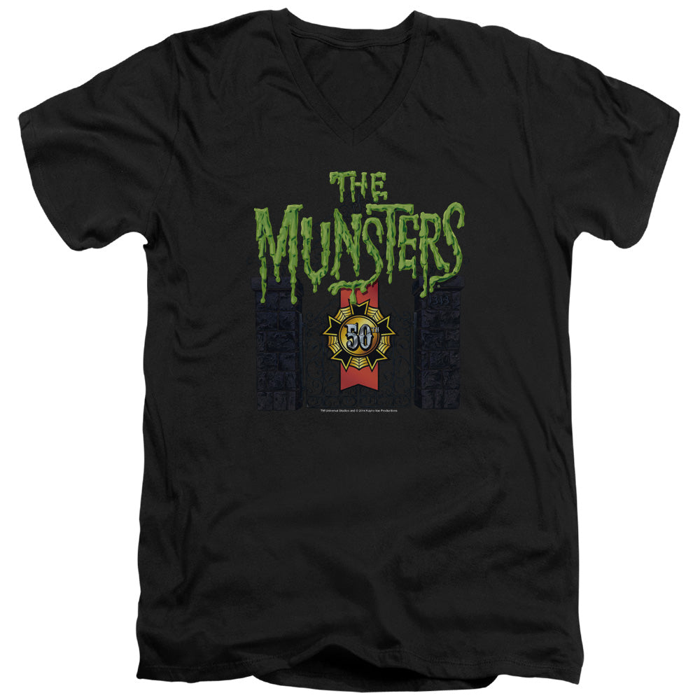 The Munsters - 50 Year Logo Short Sleeve Adult V Neck