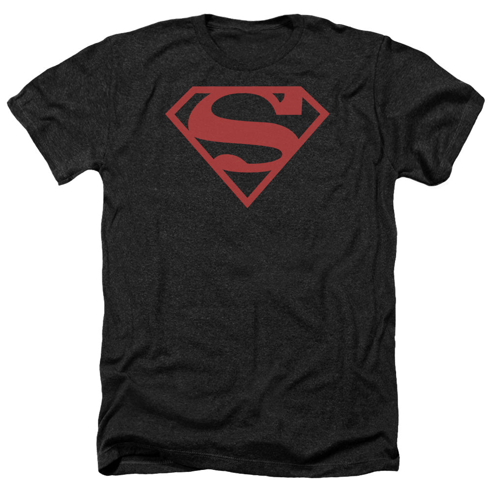 Superman - Red On Black Shield Adult Heather
