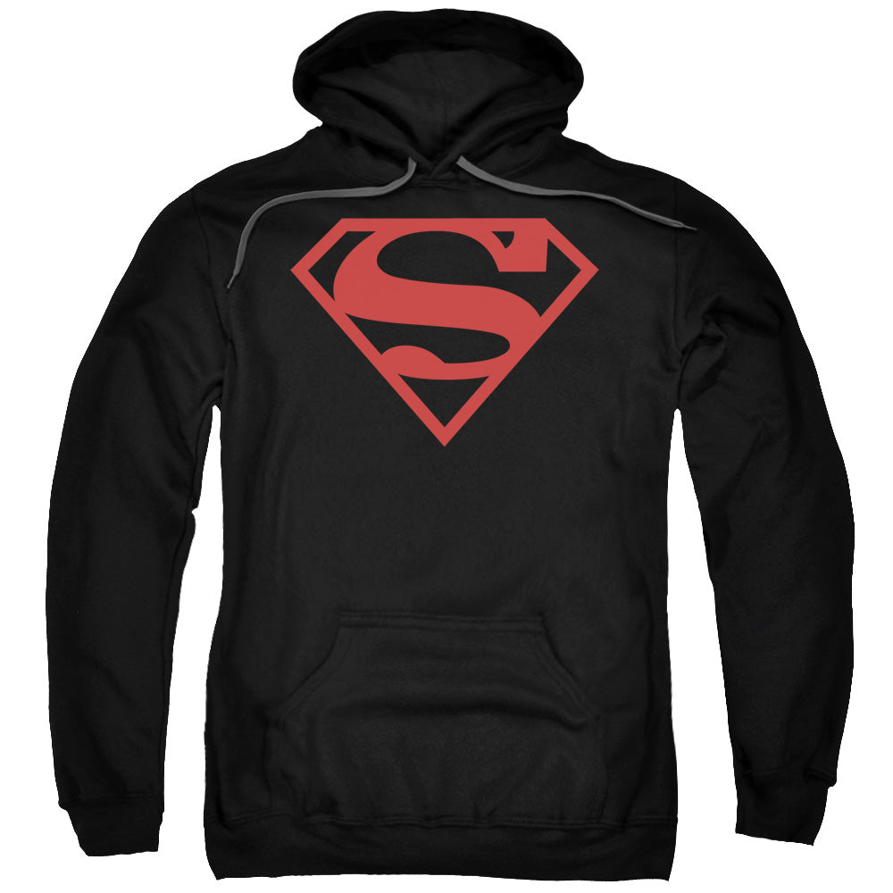 Superman - Red On Black Shield Adult Pull Over Hoodie