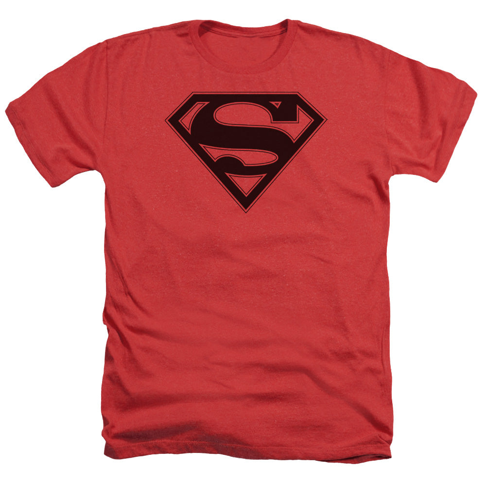 Superman - Red & Black Shield Adult Heather