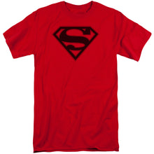 Superman - Red & Black Shield Short Sleeve Adult Tall