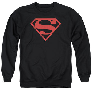 Superman - Red On Black Shield Adult Crewneck Sweatshirt