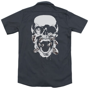Green Lantern - Black Lantern Skull (Back Print) Adult Work Shirt
