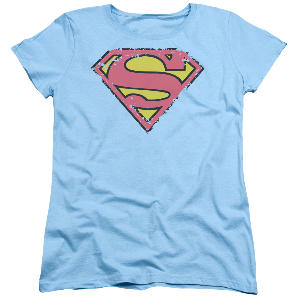 Superman - Distressed Shield Short Sleeve Women's Tee