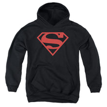 Superman - Red On Black Shield Youth Pull Over Hoodie