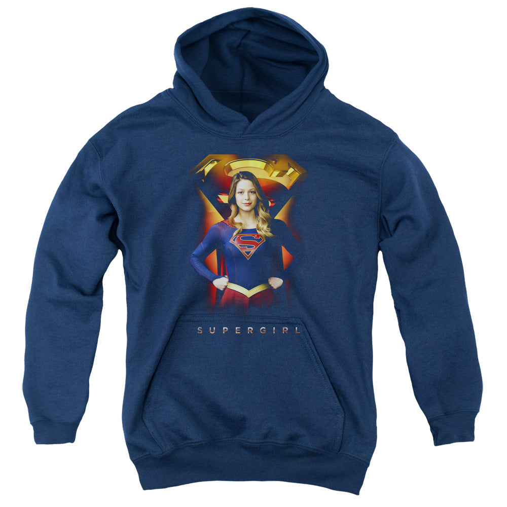 Supergirl - Standing Symbol Youth Pull Over Hoodie