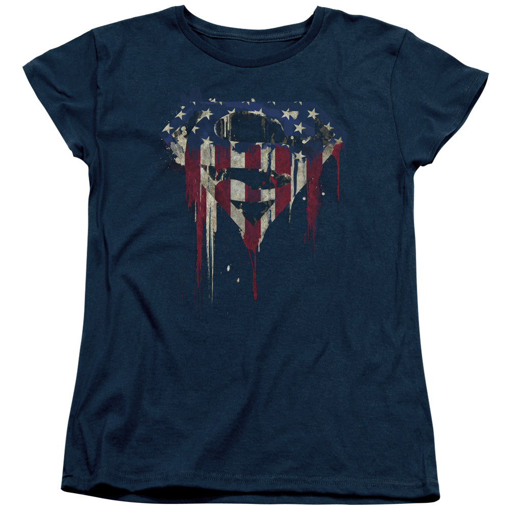 Superman - Bleeding Shield Short Sleeve Women's Tee
