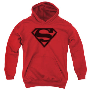 Superman - Red & Black Shield Youth Pull Over Hoodie