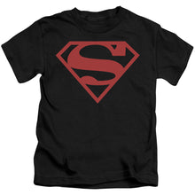 Superman - Red On Black Shield Short Sleeve Juvenile 18/1