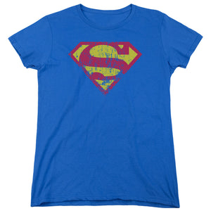 Superman - Classic Logo Distressed Short Sleeve Women's Tee