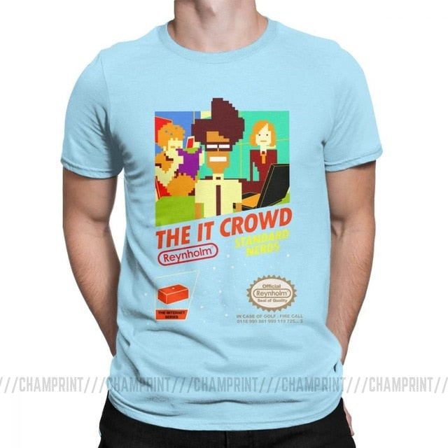 The It Crowd Nes 8 Bit Game T-Shirts - Sky Blue